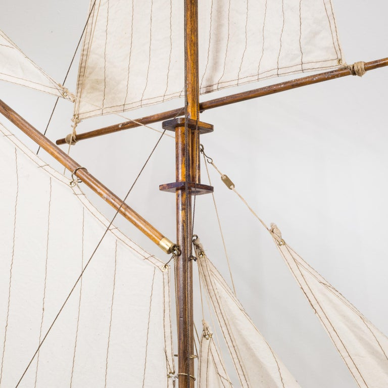 Early 20th Century Monumental Wooden Ship Model, circa 1940s For Sale 11