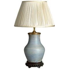 Early 20th Century Moorcroft Blue Glazed Pottery Vase Lamp