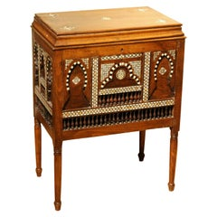 Early 20th Century Moorish Bugatti Style Open Top Chest or Side Table and Mirror