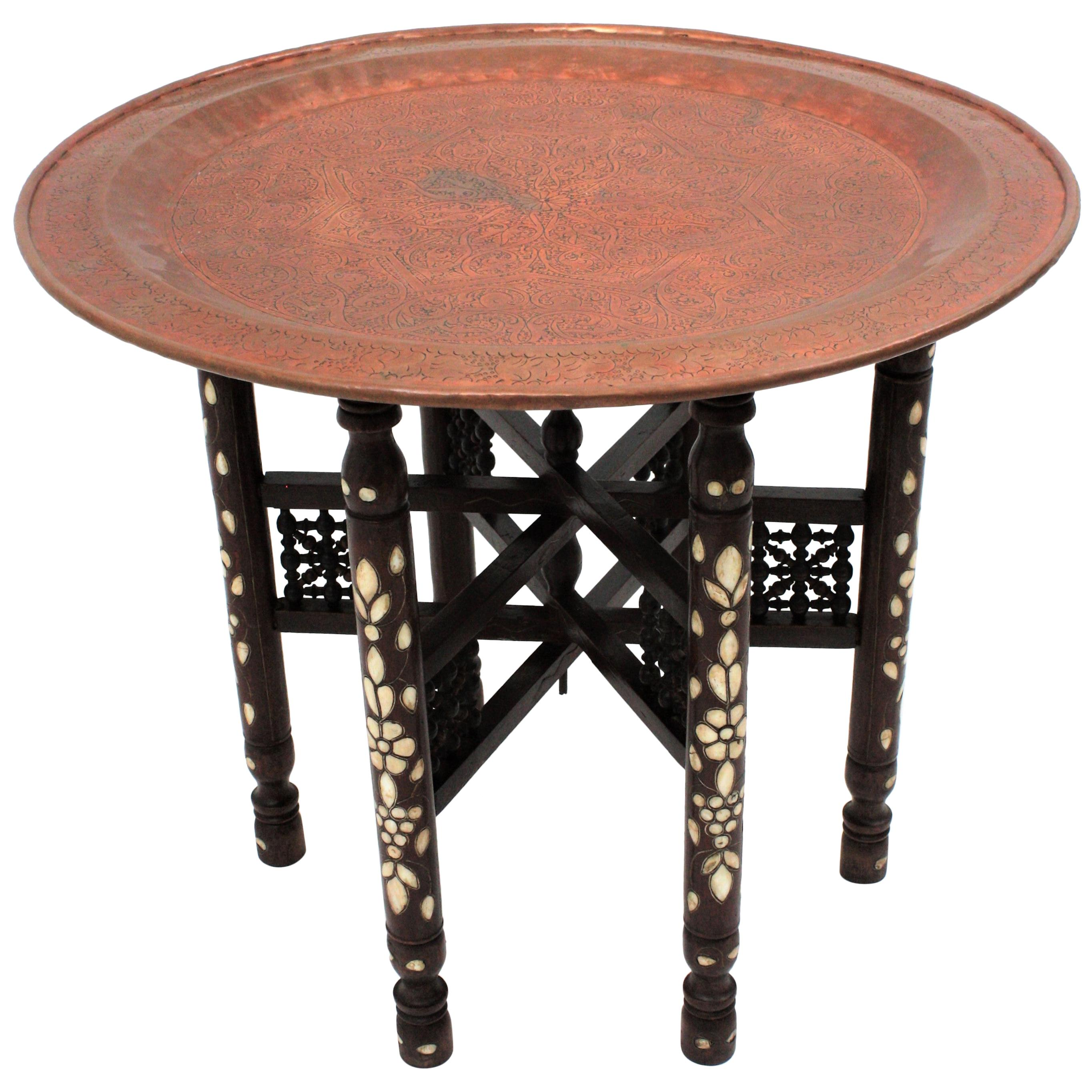 Moorish Copper Tray Table on Wooden Inlaid Folding Stand