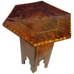 Early 20th Century Moorish Table in Burr Cedar with Holly Star of David Inlay