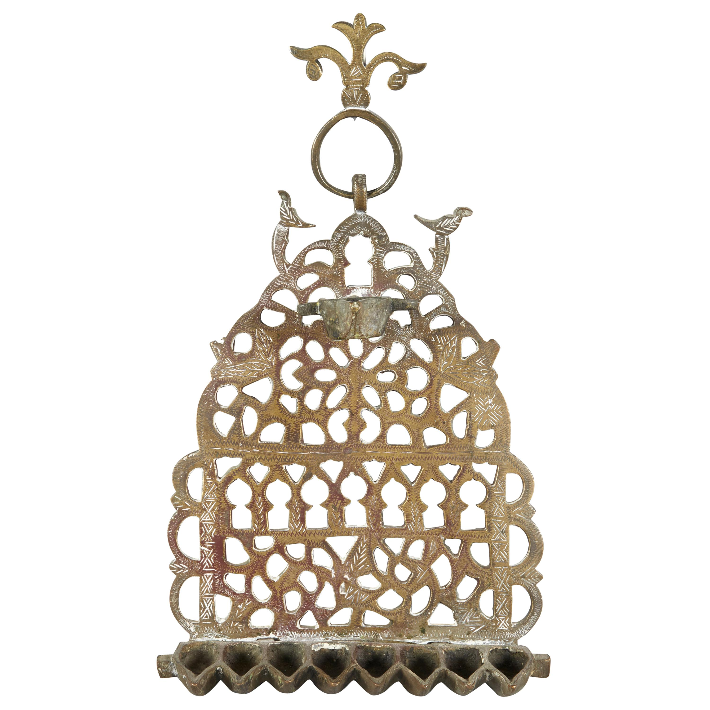 Early 20th Century Moroccan Brass Hanukkah Lamp Menorah