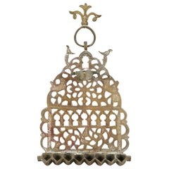 Early 20th Century Moroccan Brass Hanukkah Lamp Menorah