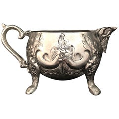 Early 20th Century Moroccan Silver Sugar Creamer Repousse & Engraving, Stamped