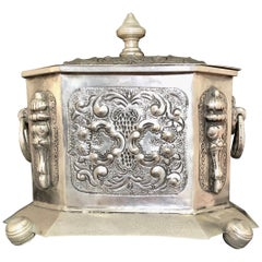Early 20th Century Moroccan Silver Tea Box with Repousse & Engraving, Stamped