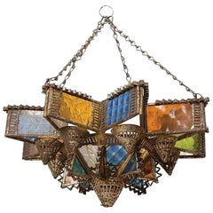 Early 20th Century Moroccan Tin and Glass Synagogue Hanging Lamp