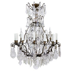 Early 20th Century Multi Crystal Fifteen-Arm Birdcage Chandelier
