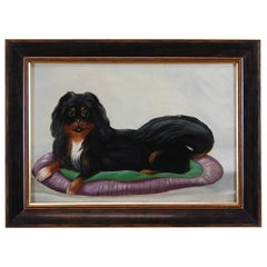 Early 20th Century Naive Oil Painting on Board, Reclining Spaniel on a Cushion