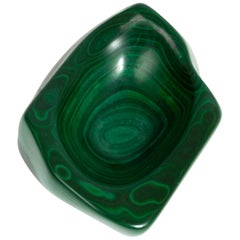 Early 20th Century Natural Green Solid Malachite Trinket Jewelry Dish