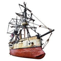 Early 20th Century Nautical Self Taught Folk Art Scratch Built the Sultan Ship