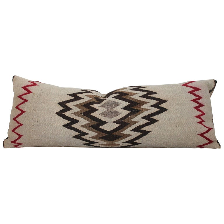 Early 20th Century Navajo Indian Weaving Bolster Pillow For Sale