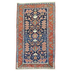 Early 20th Century Navy Ground Scatter Size Persian Oriental Heriz Rug
