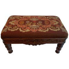 Early 20th Century Needlepoint Hand Carved Stool