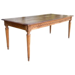Early 20th Century Neo-Classical Style Italian Carved Walnut Farm Table