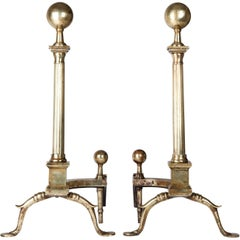 Early 20th Century Neoclassical Polished Brass Andirons With Fluted Columns