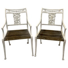 Early 20th Century Neoclassical Style Iron Molla Diana the Huntress Chairs, Pair