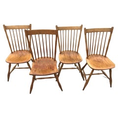 Early 20th Century New England Maple Spindleback Windsor Chairs