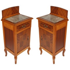 Antique couple Nightstands, Bedside Tables, Walnut & Mahogany with Marble Top