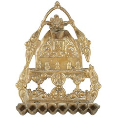 "Early 20th Century North-African ""Fleur-de-lis"" Brass Hanukkah Lamp Menorah"