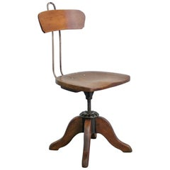 Early 20th Century Oak Machinists Chair, circa 1900