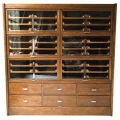 Early 20th Century Oak Patented Dressing Room Haberdashery Cabinet