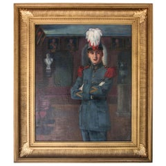 "Early 20th Century Oil on Canvas by C Tertiaux, ""Boy From Academy"", circa 1922"