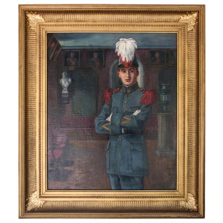 """Early 20th Century Oil on Canvas by C Tertiaux, """"Boy From Academy"""", circa 1922 For Sale"""