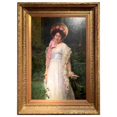 "Early 20th Century Oil on Canvas ""Contemplation"", Signed W.H. Durham, circa 1906"