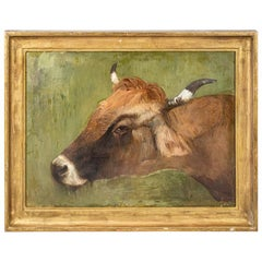 Early 20th Century Oil on Canvas Cow Painting