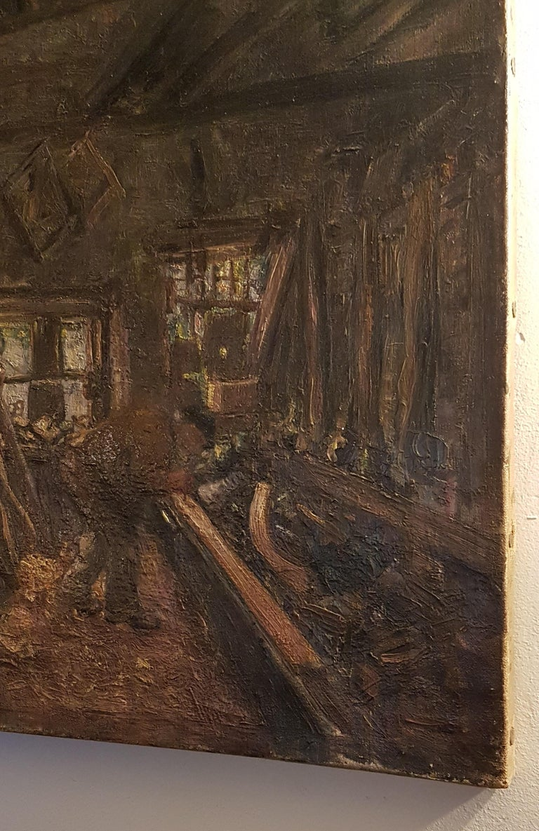 A charming early 20th century painting of the inside of a carpenters workshop. The artist has captured the atmosphere of the workshop in this painting and it has great use of texture too, unsigned.