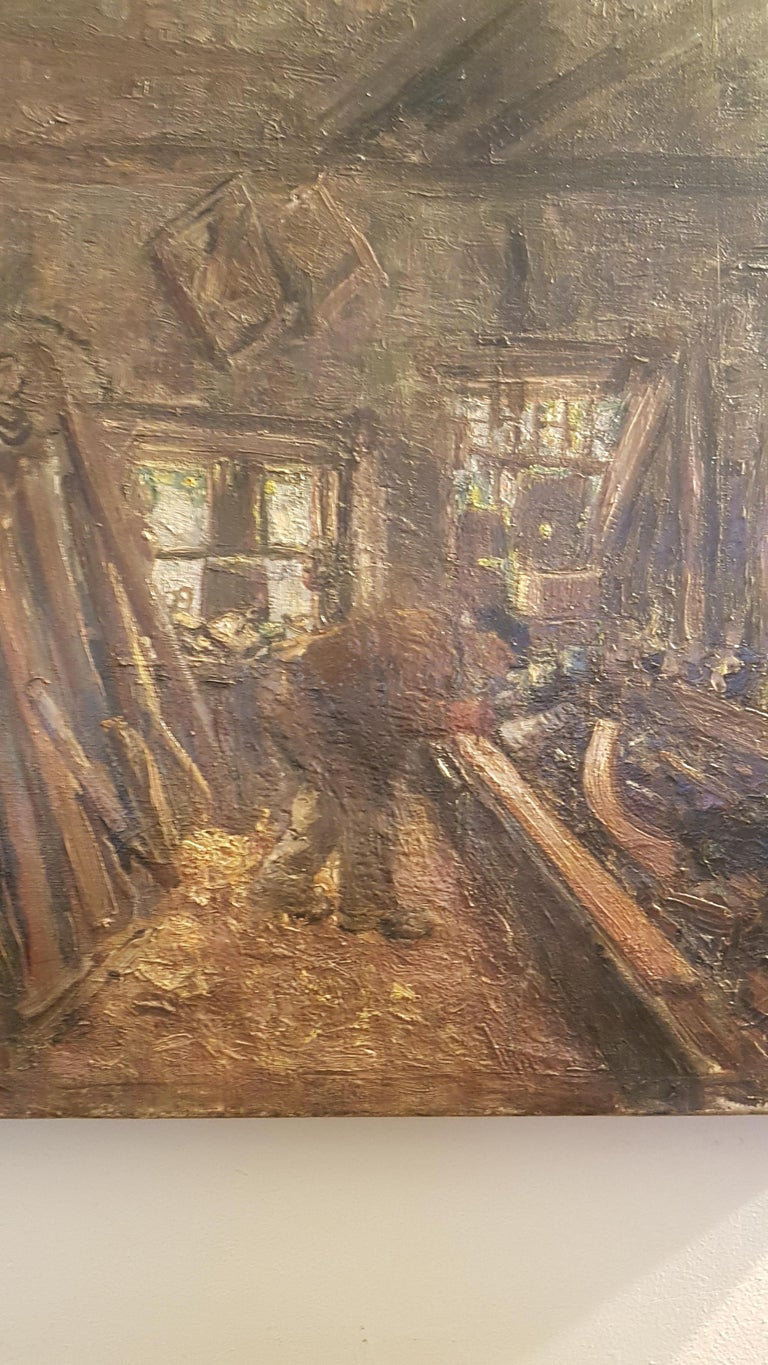 Edwardian Early 20th Century Oil on Canvas of Carpenters Workshop For Sale