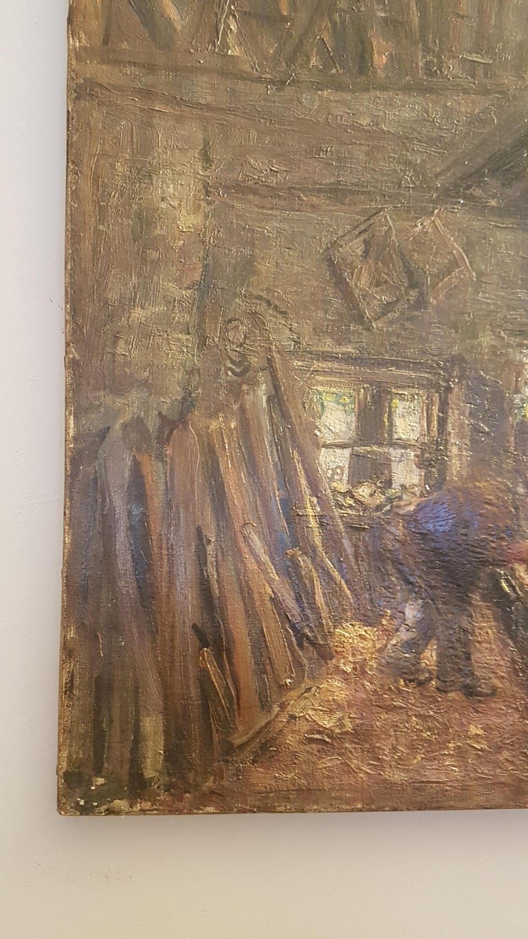 English Early 20th Century Oil on Canvas of Carpenters Workshop For Sale