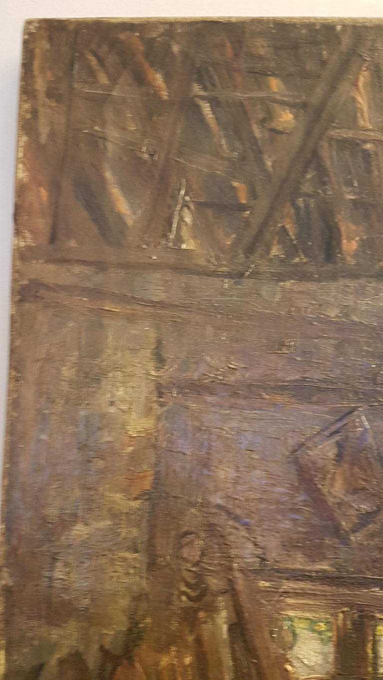 Early 20th Century Oil on Canvas of Carpenters Workshop For Sale 1