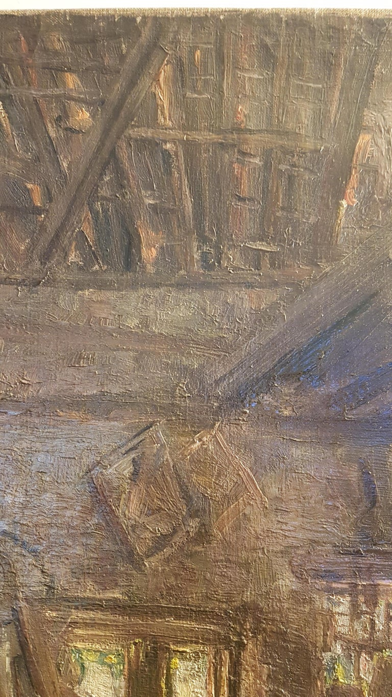 Early 20th Century Oil on Canvas of Carpenters Workshop For Sale 2