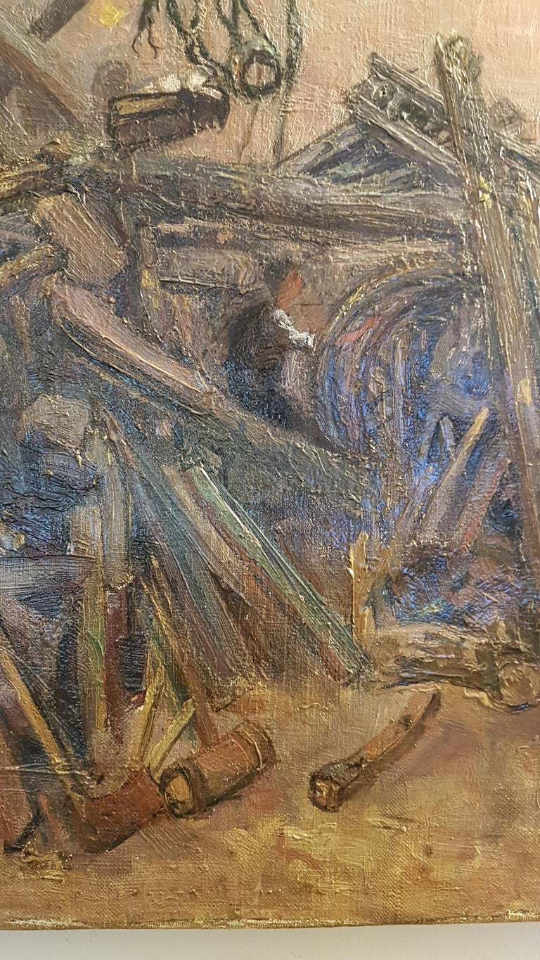 Early 20th Century Oil on Canvas of Cartwrights Workshop In Distressed Condition For Sale In Bodicote, Oxfordshire