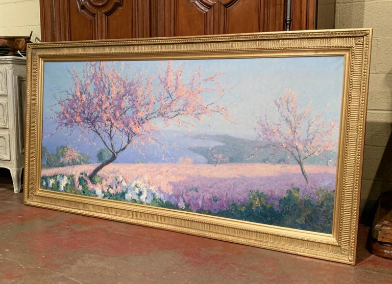 20th Century Oil on Canvas Painting in Gilt Frame Signed R. Thibesart For Sale 1