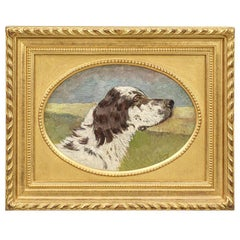 Early 20th Century Oil on Canvas Pointer by A Clarys