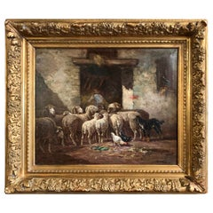 Early 20th Century Oil on Canvas Sheep Painting in Gilt Frame Signed Desvarreux