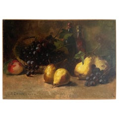 Early 20th Century Oil on Canvas Still Life with Fruits Signed by J. Zimmer
