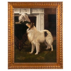 Early 20th Century Oil Painting Dogs Cairn Terrier & Collie by Alice Leotard