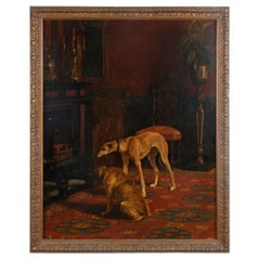 Early 20th Century Oil Painting Dogs Greyhound by Alice Leotard