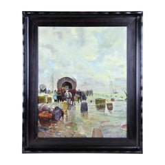 """Early 20th Century Oil Painting """"Harbour Of Danzing"""", circa 1915"""