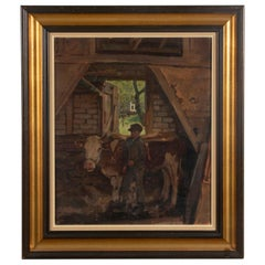 Early 20th Century Oil Painting Julius Junghans Young Boy with Cows