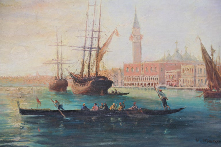 French Early 20th Century Oil Painting of the Venetian Lagoon For Sale