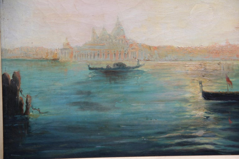 Early 20th Century Oil Painting of the Venetian Lagoon In Good Condition For Sale In Martlesham, GB