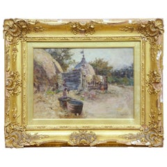 Early 20th Century Oil Painting Village Scene by Robert McGregor