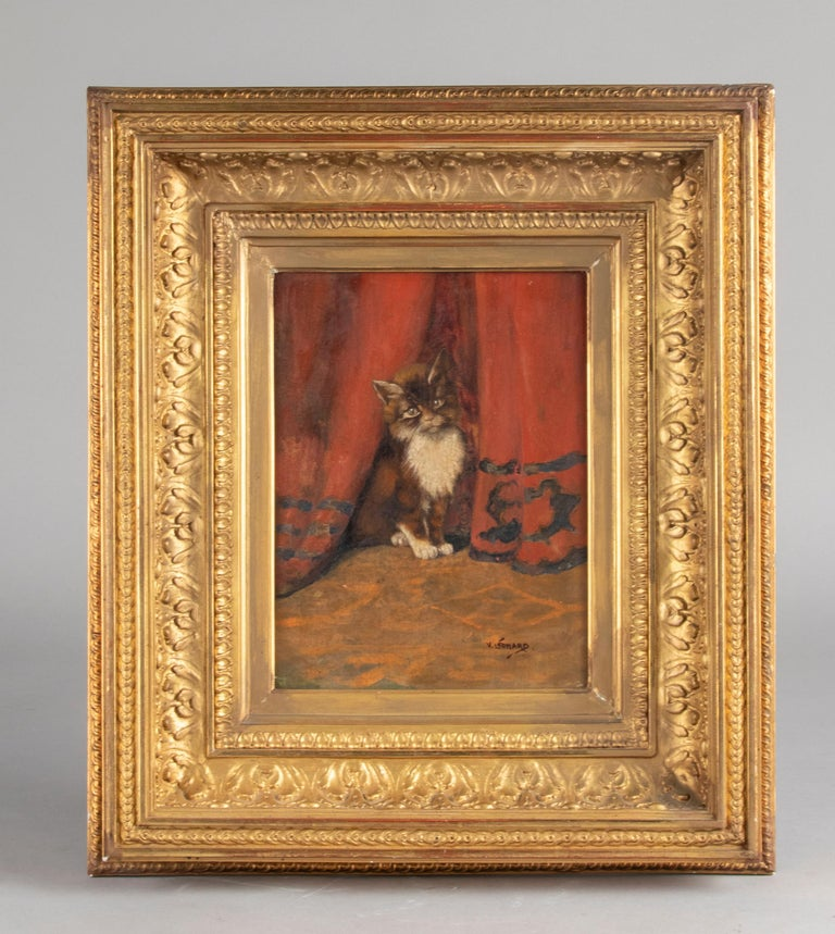 Belle Époque Early 20th Century Oil Painting Young Cat/Kitten by Léonard