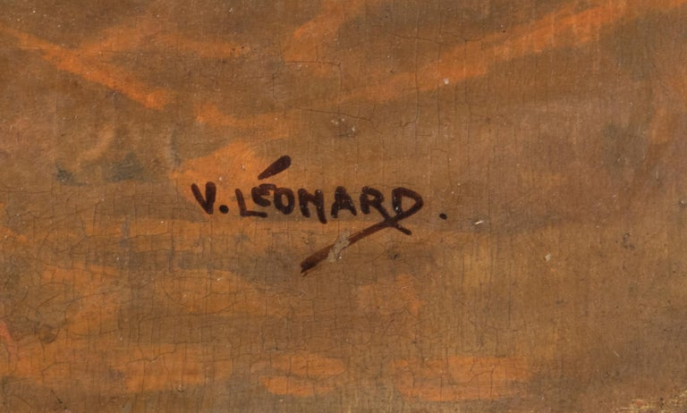 Belgian Early 20th Century Oil Painting Young Cat/Kitten by Léonard