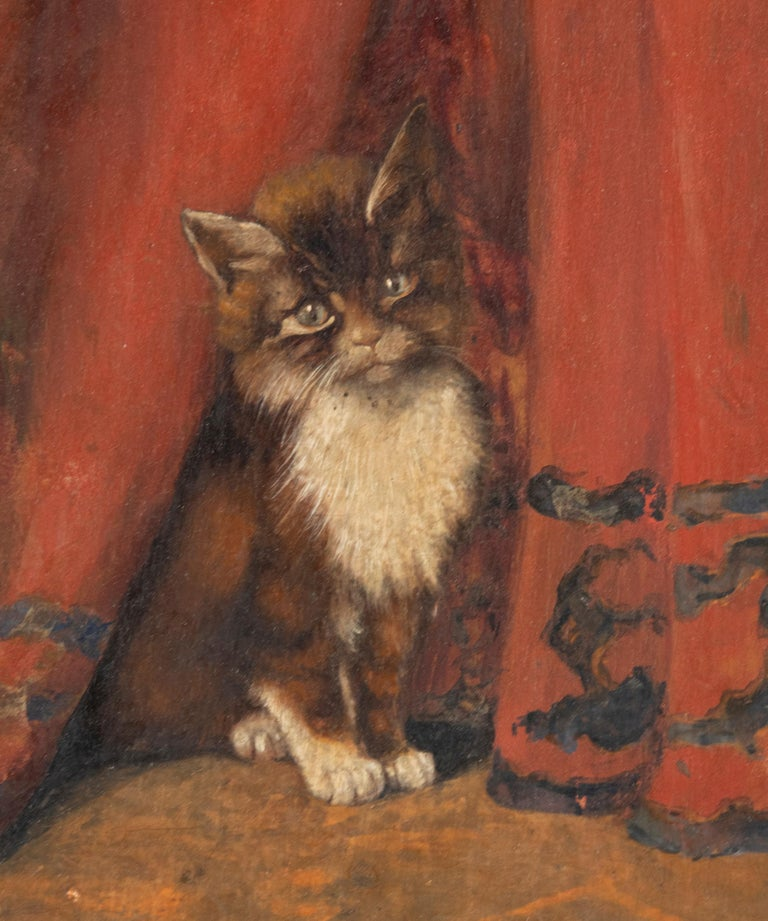 Hand-Crafted Early 20th Century Oil Painting Young Cat/Kitten by Léonard