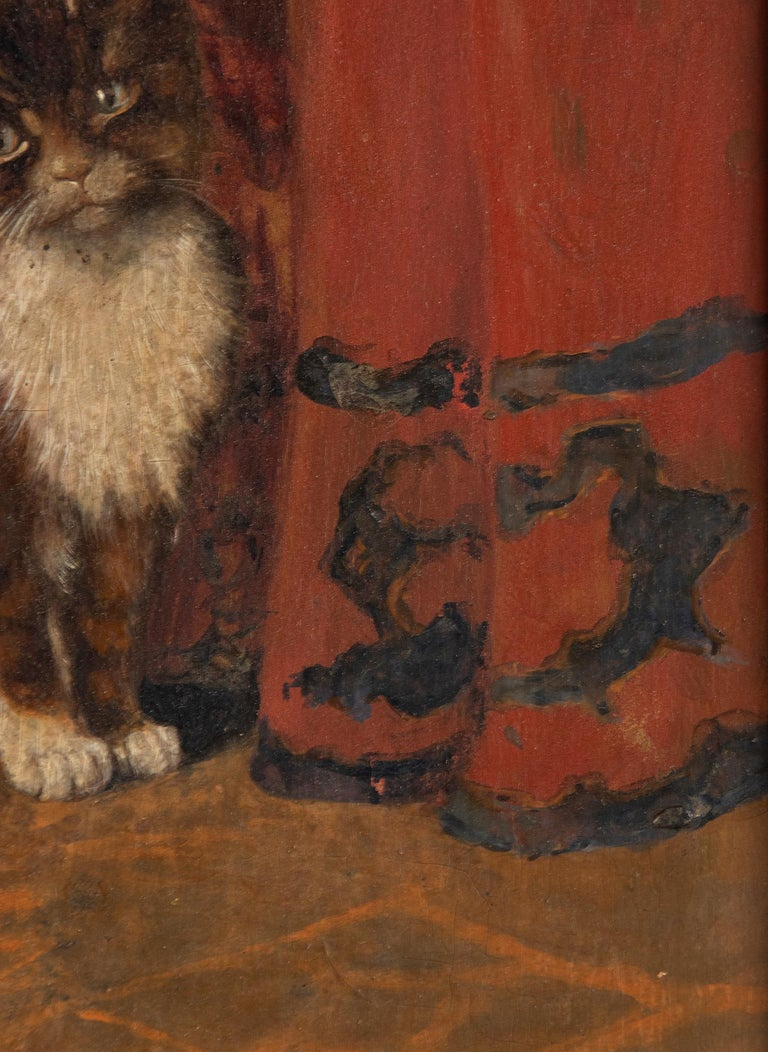 Early 20th Century Oil Painting Young Cat/Kitten by Léonard In Good Condition In Casteren, Noord-Brabant